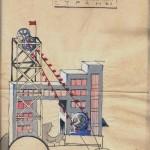 """Ескіз """"карнавального  трактора"""", направлений до робочого комітету будівництва  Будинку Держпромисловості на затвердження (трактор мав бути  застосований під час урочистих заходів, присвячених завершенню будівництва). 26 жовтня 1928 р. Ф.Р. - 1432, оп. 1, спр. 529, арк. 24"""