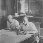 Астрофізик М.П. Барабашов та оптик - механік М.Г. Пономарьов під час проектування спектрогеліоскопу. 1929 р. ф.Р-5875,оп.1,спр.618, арк.1
