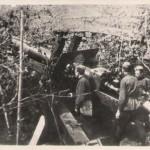 Гарматний розрахунок 213 ПАП, що брав участь у боях за звільнення м. Харків від нацистських загарбників у лютому – березні  1943 року, на військовій позиції. Копія фотографії. 1943 рік. ф. П-11589, оп. 1, спр. 619, арк. 1
